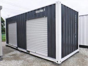 コンテナ20フィート 4.5坪倉庫  シャッター2個 ブラック&ホワイト【新棟】
