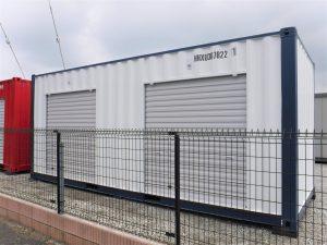 コンテナ20フィート 4.5坪倉庫  シャッター2個 ホワイト&ネイビー【新棟】